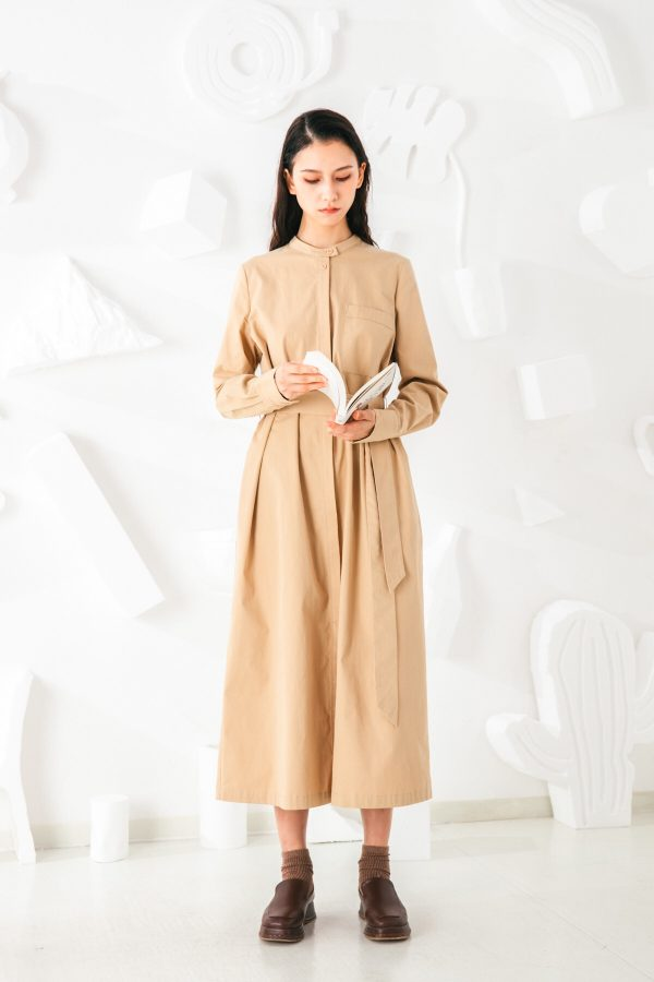 SKYE San Francisco SF shop ethical sustainable modern minimalist elegant quality women clothing fashion brand Sophie Dress Cotton Beige