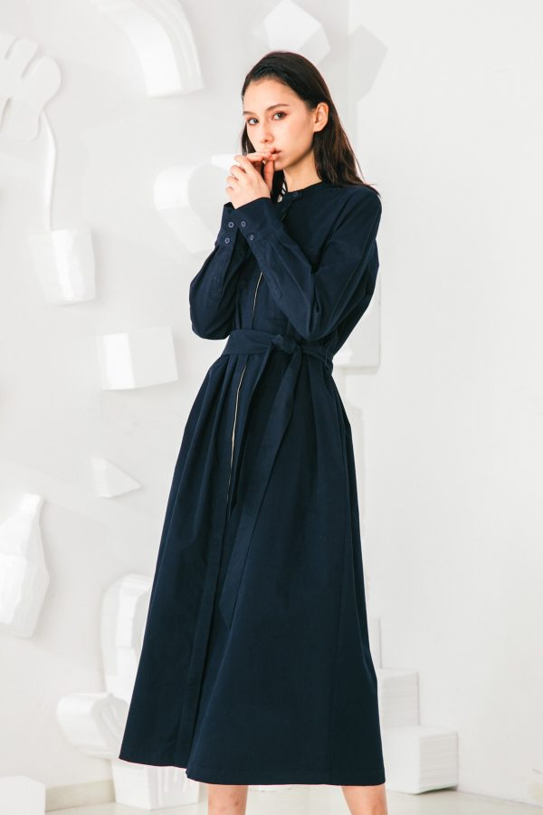 SKYE San Francisco SF shop ethical sustainable modern minimalist elegant quality women clothing fashion brand Sophie Dress Cotton Blue 3