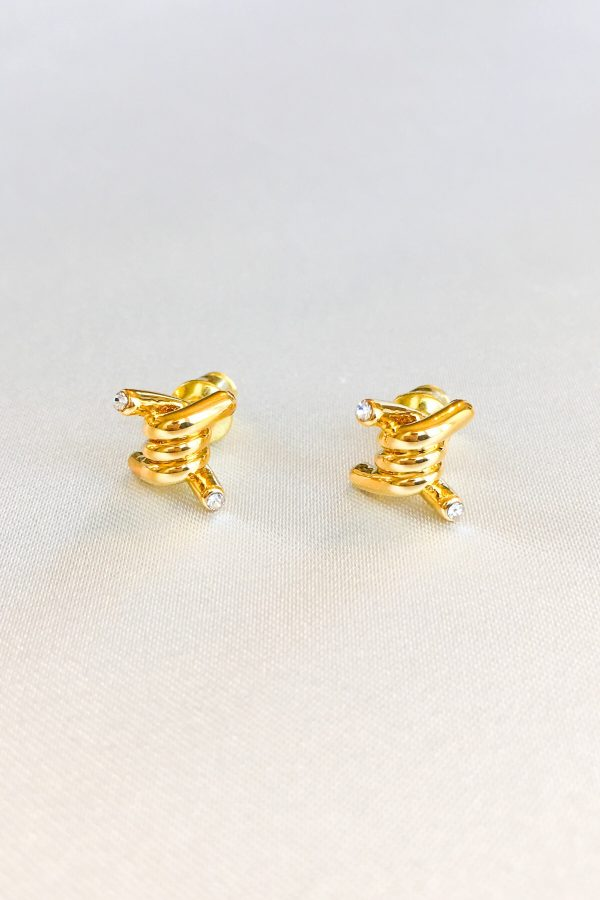 SKYE San Francisco SF California shop ethical sustainable modern minimalist quality women jewelry Azélie 18K Gold Earrings twisted knot 2