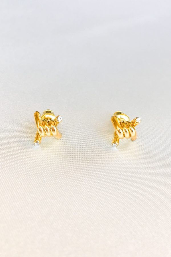 SKYE San Francisco SF California shop ethical sustainable modern minimalist quality women jewelry Azélie 18K Gold Earrings twisted knot 3