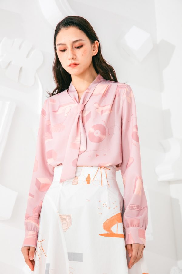 SKYE San Francisco SF shop ethical sustainable modern minimalist elegant quality women clothing fashion brand Marquis Blouse PInk 2