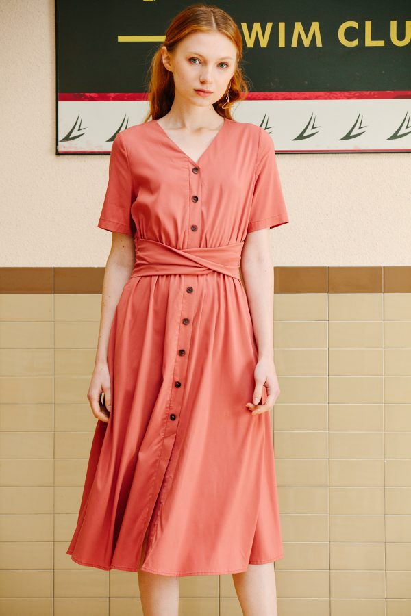 SKYE San Francisco SF shop ethical sustainable modern minimalist quality women clothing boutique fashion Spring 2020 Risette Dress Coral 3