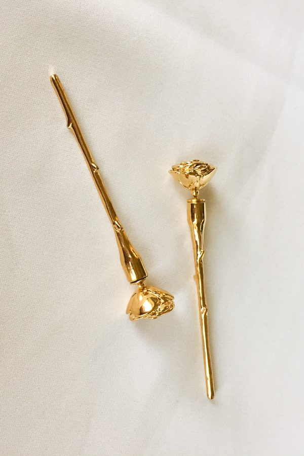 SKYE San Francisco SF shop ethical sustainable modern minimalist luxury women jewelry Spring 2020 Meline 18K Gold Earrings long stem rose 2