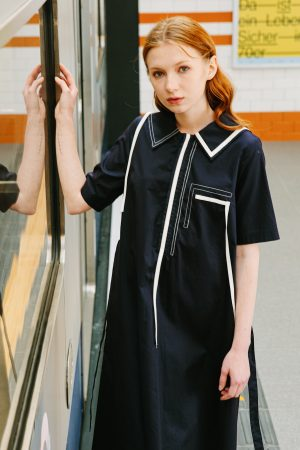 SKYE San Francisco SF shop ethical sustainable modern minimalist quality women clothing boutique fashion Spring 2020 Vivienne Dress nautical sailor navy 6