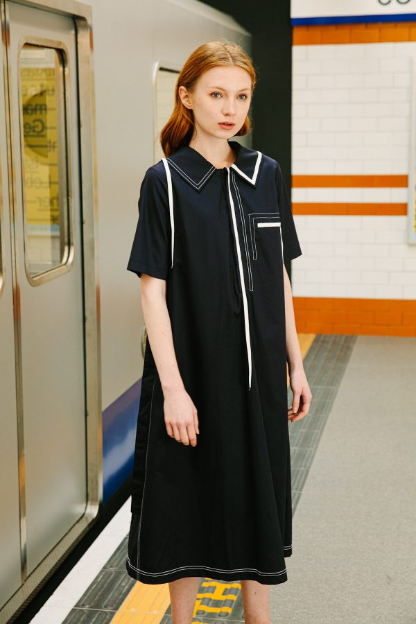 SKYE San Francisco SF shop ethical sustainable modern minimalist quality women clothing boutique fashion Spring 2020 Vivienne Dress nautical sailor navy
