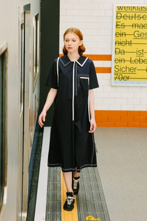 SKYE San Francisco SF shop ethical sustainable modern minimalist quality women clothing boutique fashion Spring 2020 Vivienne Dress nautical sailor navy 7