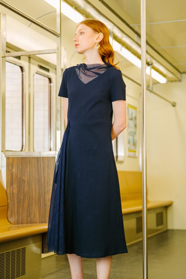 SKYE San Francisco SF California shop ethical sustainable modern minimalist luxury women fashion Corentin Dress Blue 2