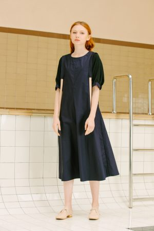 SKYE San Francisco SF California shop ethical sustainable modern minimalist luxury women fashion Enzo Dress blue 5