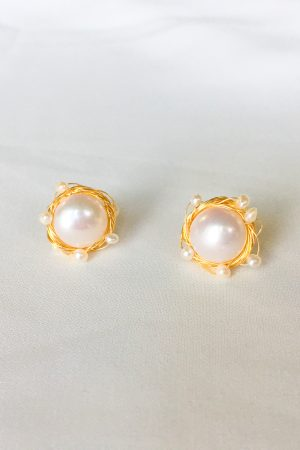 SKYE San Francisco SF California shop ethical sustainable modern chic designer women jewelry Aurorette 18K Gold Freshwater Pearl Earrings