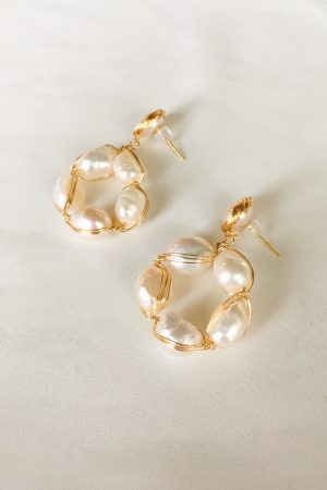 SKYE San Francisco SF California shop ethical sustainable modern chic designer women jewelry Cheree 18K Gold Freshwater Pearl Earrings 3