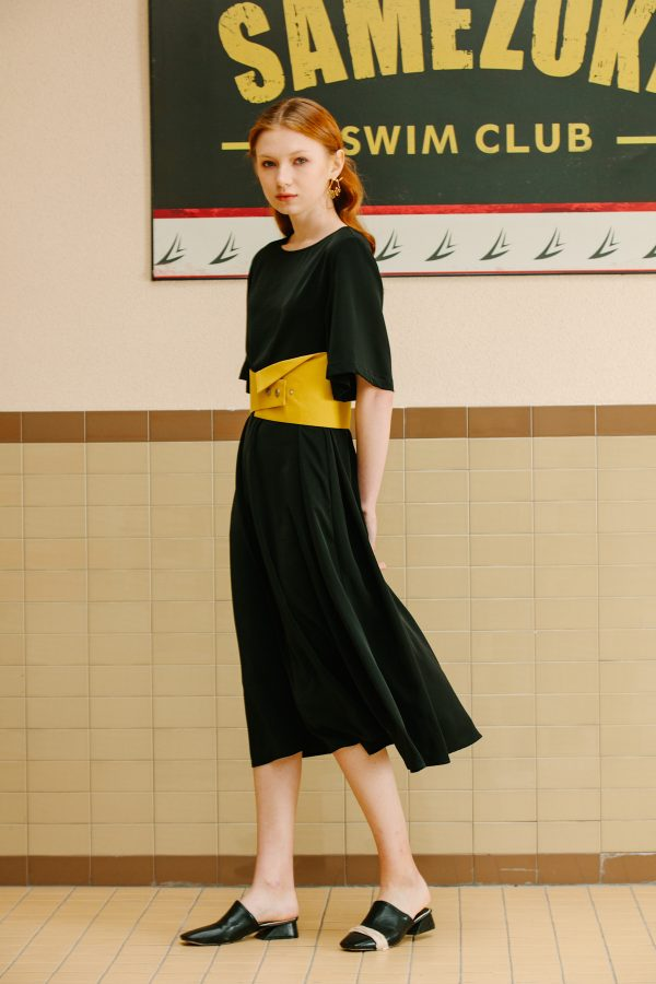 SKYE San Francisco SF California shop ethical sustainable modern minimalist luxury women fashion Lael Dress with Belt black 5