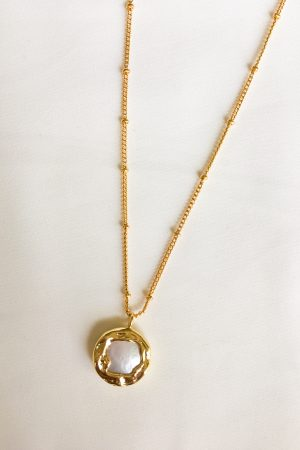 SKYE San Francisco SF California shop ethical sustainable modern chic designer women jewelry Charee 18K Gold Freshwater Pearl Necklace 5