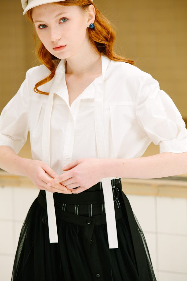 SKYE San Francisco SF California shop ethical sustainable modern chic minimalist luxury clothing women fashion Agnes Short Sleeve Blouse 3
