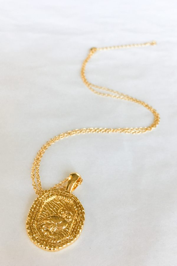 SKYE San Francisco SF California shop ethical sustainable modern chic designer women jewelry Chouette 18K Gold Medallion Necklace 4