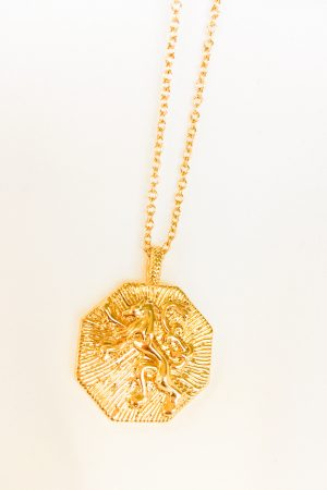 SKYE San Francisco SF California shop ethical sustainable modern chic designer women jewelry Lionne 18K Gold Medallion Necklace 6