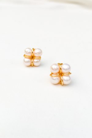 SKYE San Francisco SF shop ethical sustainable modern minimalist chic luxury women jewelry Taia 18K Gold Freshwater Pearl Earrings