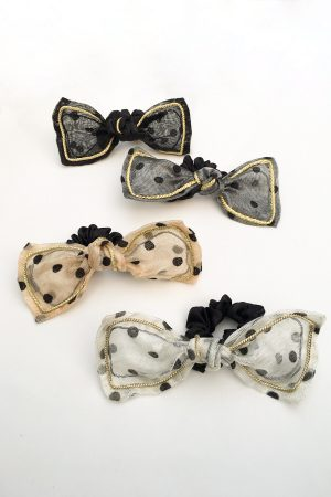 SKYE San Francisco SF California shop ethical sustainable modern chic designer women jewelry Lilla Polka Dot Bow Scrunchie 3