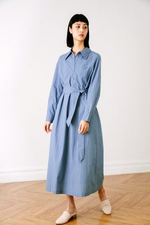SKYE San Francisco SF California shop ethical sustainable modern chic minimalist luxury clothing women fashion Carole Shirt Dress Blue 1 1