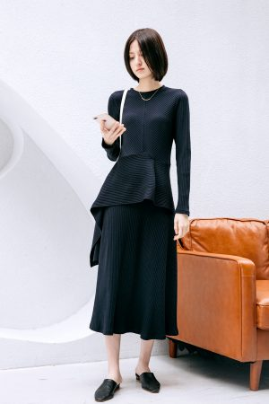 SKYE San Francisco SF California shop ethical sustainable modern chic minimalist luxury clothing women fashion Cerise Dress Black 1