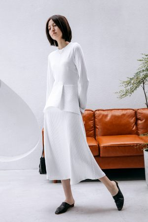 SKYE San Francisco SF California shop ethical sustainable modern chic minimalist luxury clothing women fashion Cerise Dress White 1 1