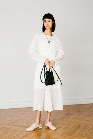 SKYE San Francisco SF California shop ethical sustainable modern chic minimalist luxury clothing women fashion Dezi Dress white