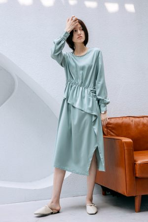 SKYE San Francisco SF California shop ethical sustainable modern chic minimalist luxury clothing women fashion Felicity Dress Light Green 1