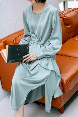 SKYE San Francisco SF California shop ethical sustainable modern chic minimalist luxury clothing women fashion Felicity Dress Light Green 2