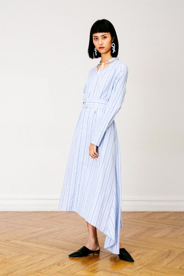 SKYE San Francisco SF California shop ethical sustainable modern chic minimalist luxury clothing women fashion Francoise Dress Light Blue 1