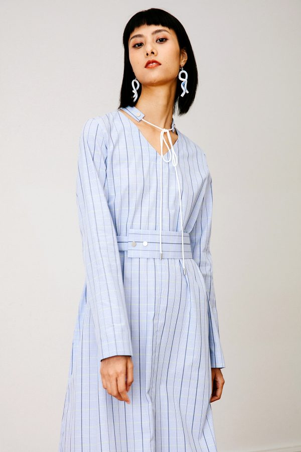 SKYE San Francisco SF California shop ethical sustainable modern chic minimalist luxury clothing women fashion Francoise Dress Light Blue 2