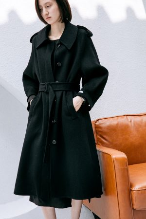 SKYE San Francisco SF California shop ethical sustainable modern chic minimalist luxury clothing women fashion Laverne Handmade Wool Coat Black 1