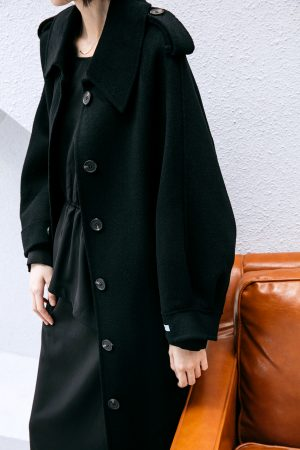 SKYE San Francisco SF California shop ethical sustainable modern chic minimalist luxury clothing women fashion Laverne Handmade Wool Coat Black 2