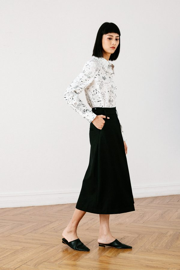 SKYE San Francisco SF California shop ethical sustainable modern chic minimalist luxury clothing women fashion Lulu Midi Skirt black 6