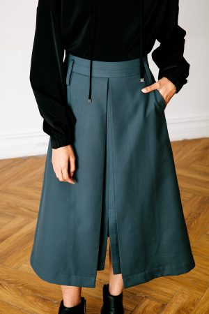 SKYE San Francisco SF California shop ethical sustainable modern chic minimalist luxury clothing women fashion Lulu Midi Skirt dark green 2