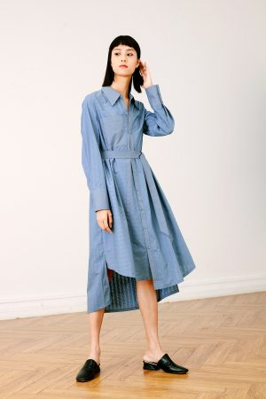SKYE San Francisco SF California shop ethical sustainable modern chic minimalist luxury clothing women fashion Olivia Shirt Dress blue 1