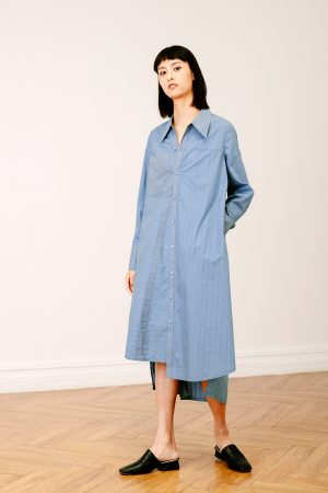 SKYE San Francisco SF California shop ethical sustainable modern chic minimalist luxury clothing women fashion Olivia Shirt Dress blue 2
