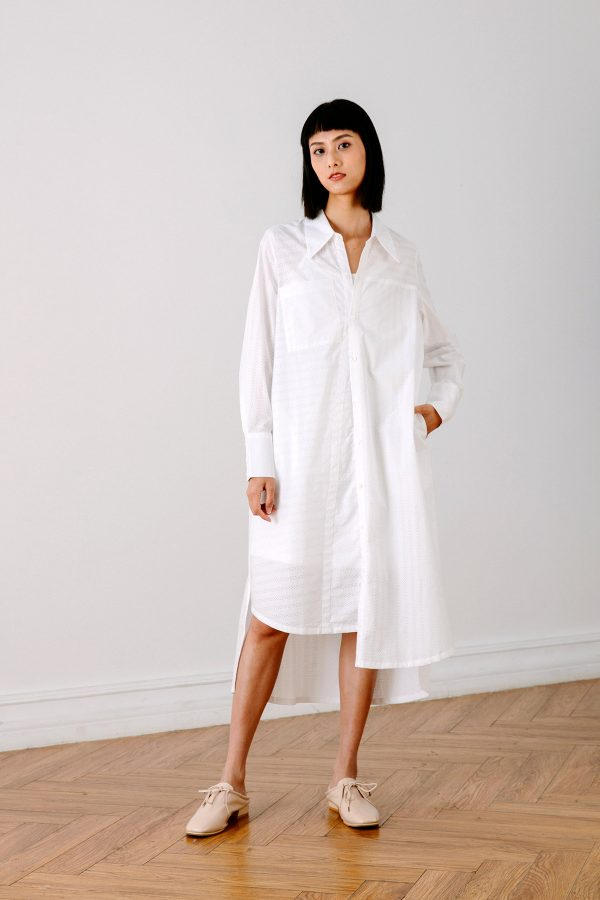 SKYE San Francisco SF California shop ethical sustainable modern chic minimalist luxury clothing women fashion Olivia Shirt Dress white 2