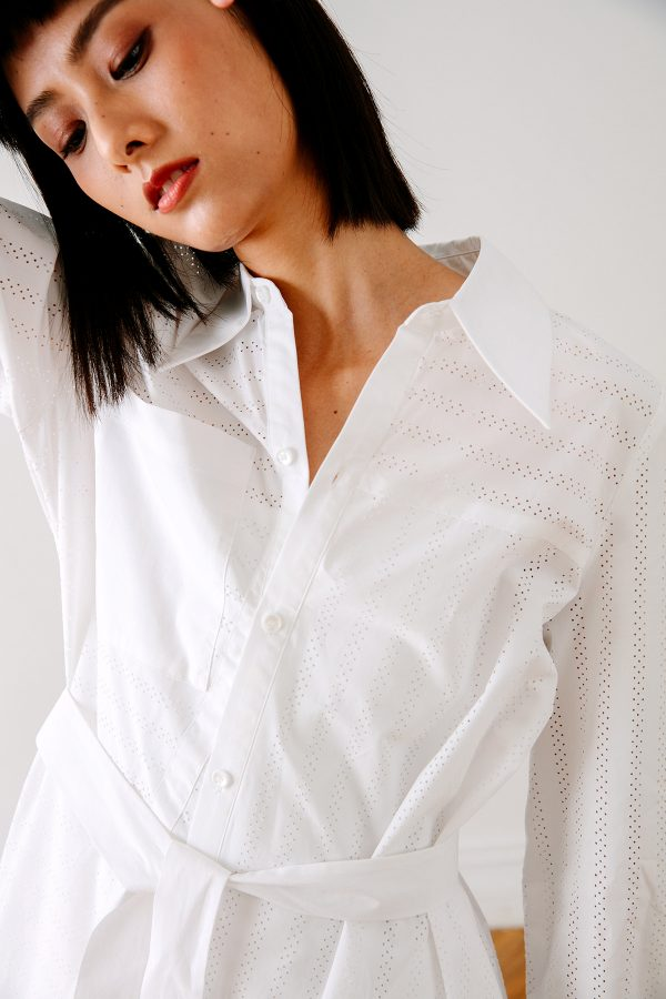SKYE San Francisco SF California shop ethical sustainable modern chic minimalist luxury clothing women fashion Olivia Shirt Dress white 3
