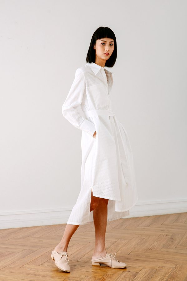 SKYE San Francisco SF California shop ethical sustainable modern chic minimalist luxury clothing women fashion Olivia Shirt Dress white 6