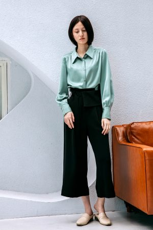 SKYE San Francisco SF California shop ethical sustainable modern chic minimalist luxury clothing women fashion Sabine Blouse Light Green 1