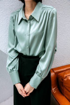 SKYE San Francisco SF California shop ethical sustainable modern chic minimalist luxury clothing women fashion Sabine Blouse Light Green 2