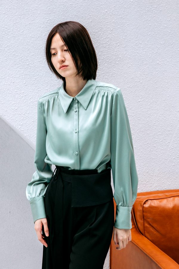 SKYE San Francisco SF California shop ethical sustainable modern chic minimalist luxury clothing women fashion Sabine Blouse Light Green 6