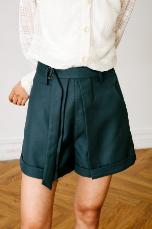 SKYE San Francisco SF California shop ethical sustainable modern chic minimalist luxury clothing women fashion Suzie Shorts dark green 3