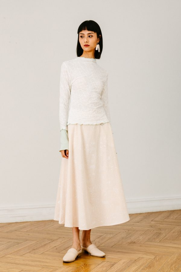 SKYE San Francisco SF California shop ethical sustainable modern chic minimalist luxury clothing brand women fashion Eloi Midi Skirt beige 4