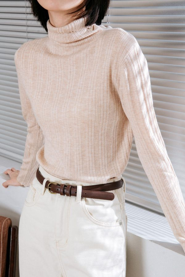 SKYE San Francisco SF California shop ethical sustainable modern chic minimalist luxury clothing women fashion Clarisse Turtleneck Sweater Lt Beige2