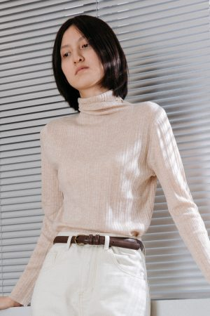 SKYE San Francisco SF California shop ethical sustainable modern chic minimalist luxury clothing women fashion Clarisse Turtleneck Sweater Lt Beige6