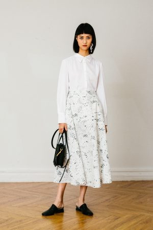 SKYE San Francisco SF California shop ethical sustainable modern chic minimalist luxury clothing women fashion Eloi Midi Skirt white 3