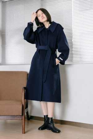 SKYE San Francisco SF California shop ethical sustainable modern chic minimalist luxury clothing women fashion Laverne Handmade Wool Coat Blue