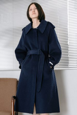 SKYE San Francisco SF California shop ethical sustainable modern chic minimalist luxury clothing women fashion Laverne Handmade Wool Coat Blue2